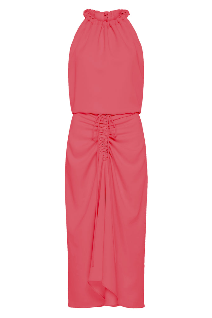 SPICED CORAL CREPE MAJORCA DRESS