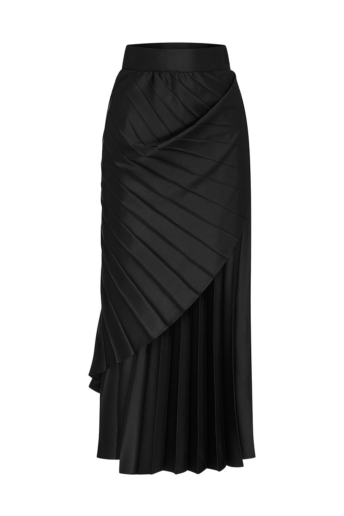 BLACK SATIN CONCERTINA SKIRT