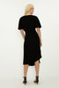 BLACK CREPE BATWING PLEAT DRESS
