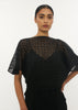 BLACK LATTICE GEO PLEAT TOP