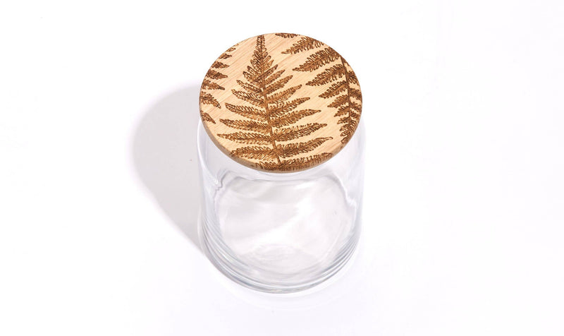 Fern Glass Storage Jar with Wooden Lid