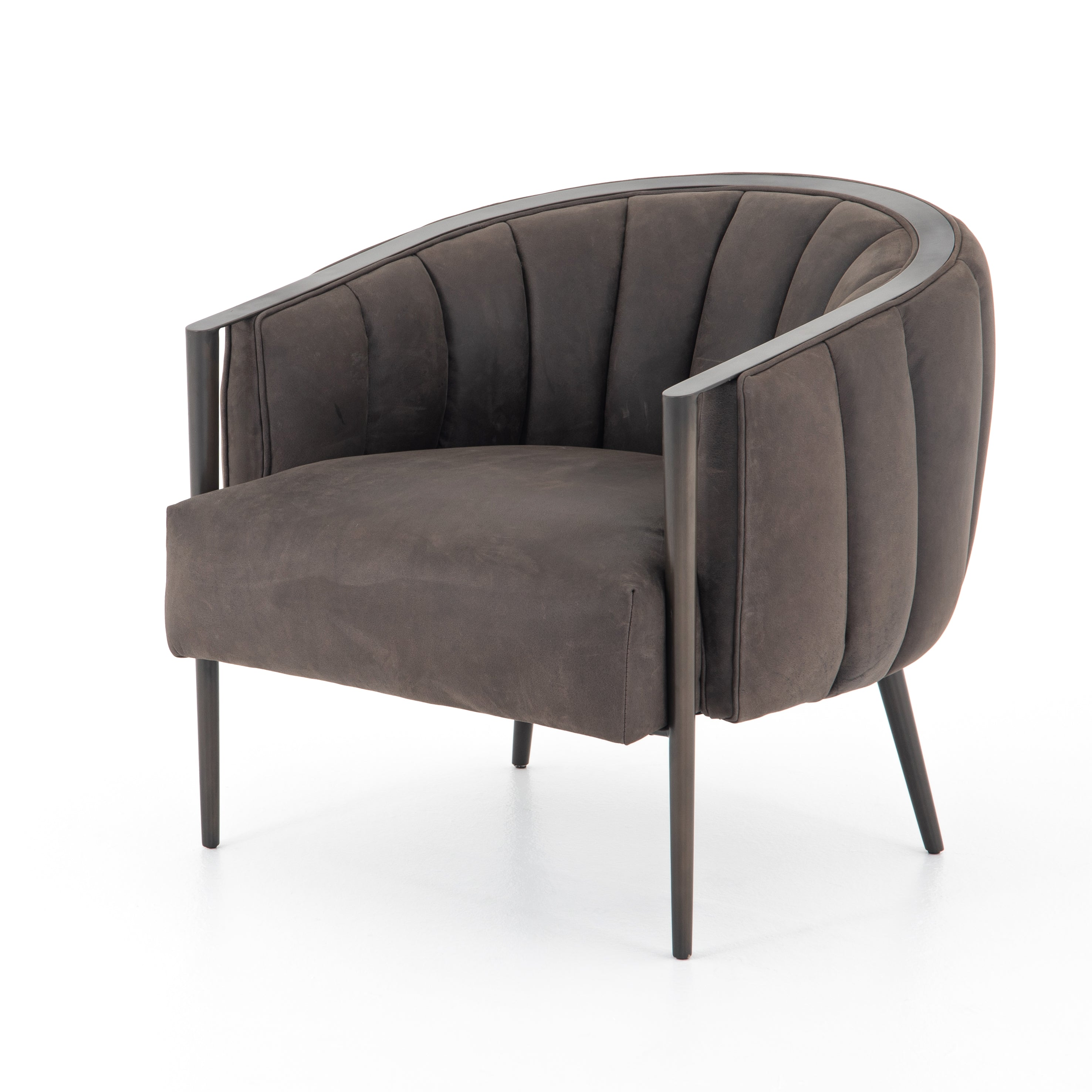 Distinguish by its curved frame, top-grain leather-covered foam cushion seating for total comfort. Finished in gunmetal, radiated back legs add a carefully designed structure finishing touch
