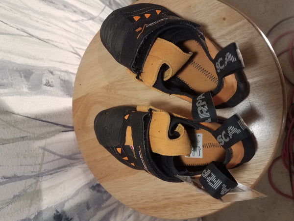 Orange/Black Scarpa Climbing Shoes, W 38.5