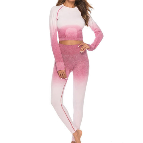 Two Piece Seamless Suit Sport Set Gym Clothes Fitness Women Long Sleeve Crop Top High Waist Legging Ribbed Workout Set Tracksuit