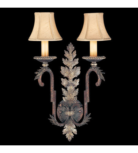 Fine Art Lamps 115950ST Stile Bellagio 2 Light 15 inch Tortoise Leather Crackle Sconce Wall Light