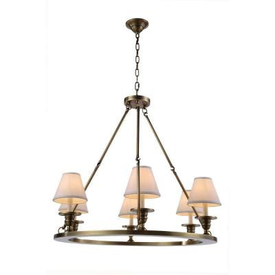 Elegant Lighting 1402D32BB Chester 6 Light Pendant In Burnished Brass