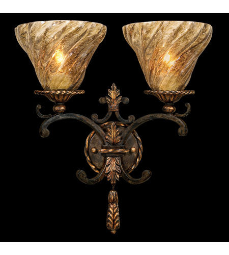 Fine Art Lamps Epicurean 2 Light Sconce in Charred Iron 407850ST