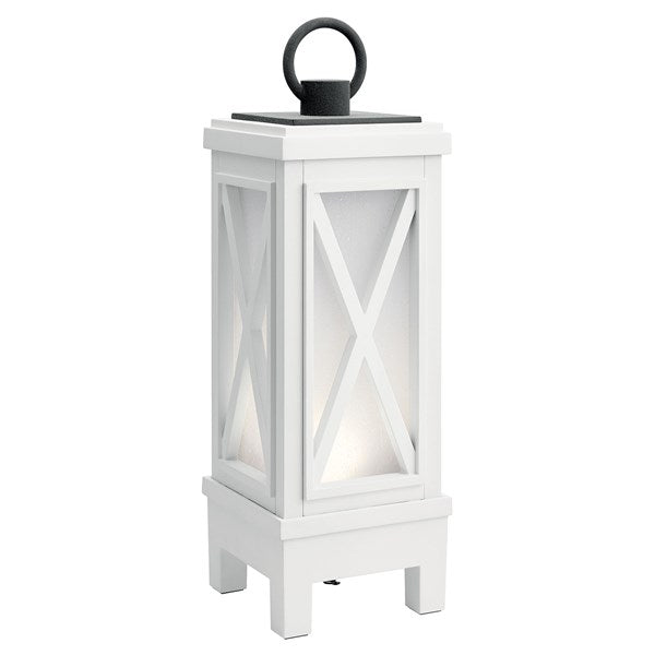 Kichler Montego Portable Bluetooth LED Lantern Weathered White 49679WHRLED