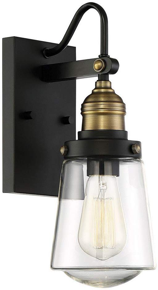 "Savoy House 5-2067-51 Macauley Outdoor Vintage Wall Lantern in Black with Warm Brass Accents (8"" W x 21"" H)"