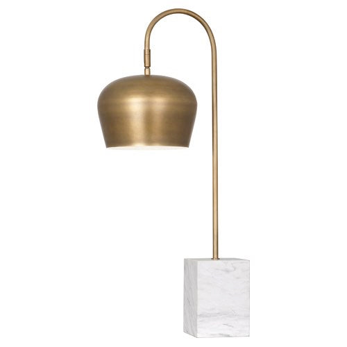 Robert Abbey Rico Espinet Bumper Table Lamp in Warm Brass Finish and White Marble Base 611