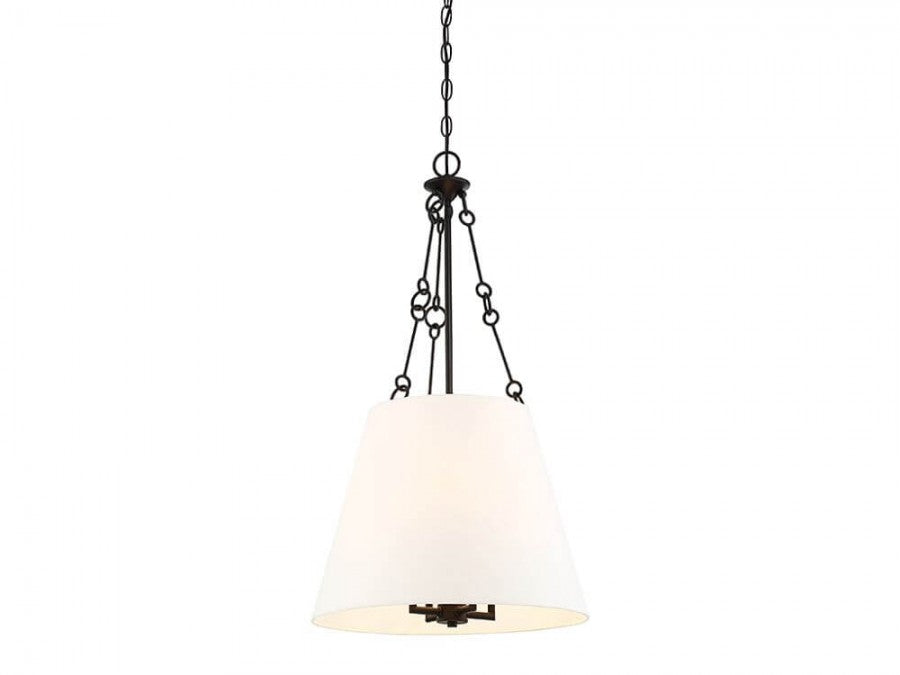 Savoy House 7-2201-4-13 Austin 4 Light Pendant In English Bronze With White Shade
