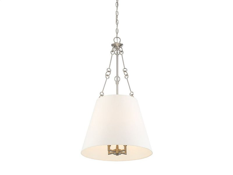 Savoy House 7-2201-4-SN Austin 4 Light Pendant In Satin Nickel With White Shade
