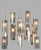 #4 Drops Glass Paneled Pendants 27 Light in Winter Grey, White & Clear Mix