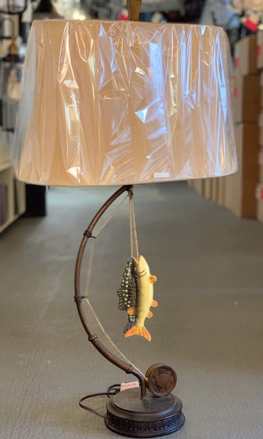 "Gone Fishing 39"" Novelty Table Lamp with Burlap Fabric Shade Style Craft L310062"