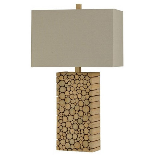 Real Wood Circles Stacked in a Block Table Lamp With Rectangular Natural Linen Shade