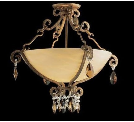 Nulco 5872-CC-42-AA Two Light Down Lighting Semi Flush Ceiling Fixture from the La Jolla Collection