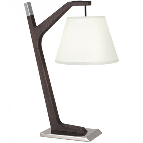 "Robert Abbey S576 Wally 21"" Walnut Wood Polished Nickel Table Lamp Portable Light"
