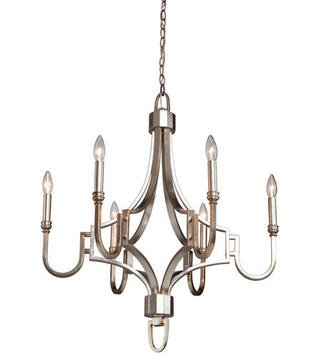 Artcraft SC1566 Lexington 6 Light 27 inch Silver Leaf Chandelier Ceiling Light