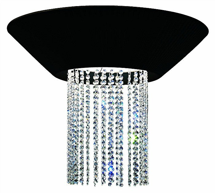 Eurofase 16585-017 Brillo 3-Light Flushmount, Chrome/Black Fabric