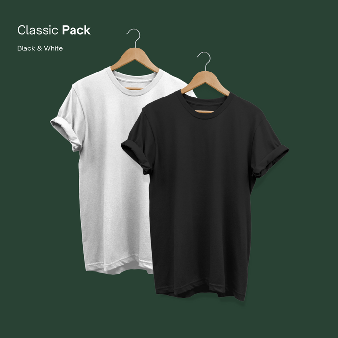 Essentials Tee Black and White Pack of 2 - Plair°