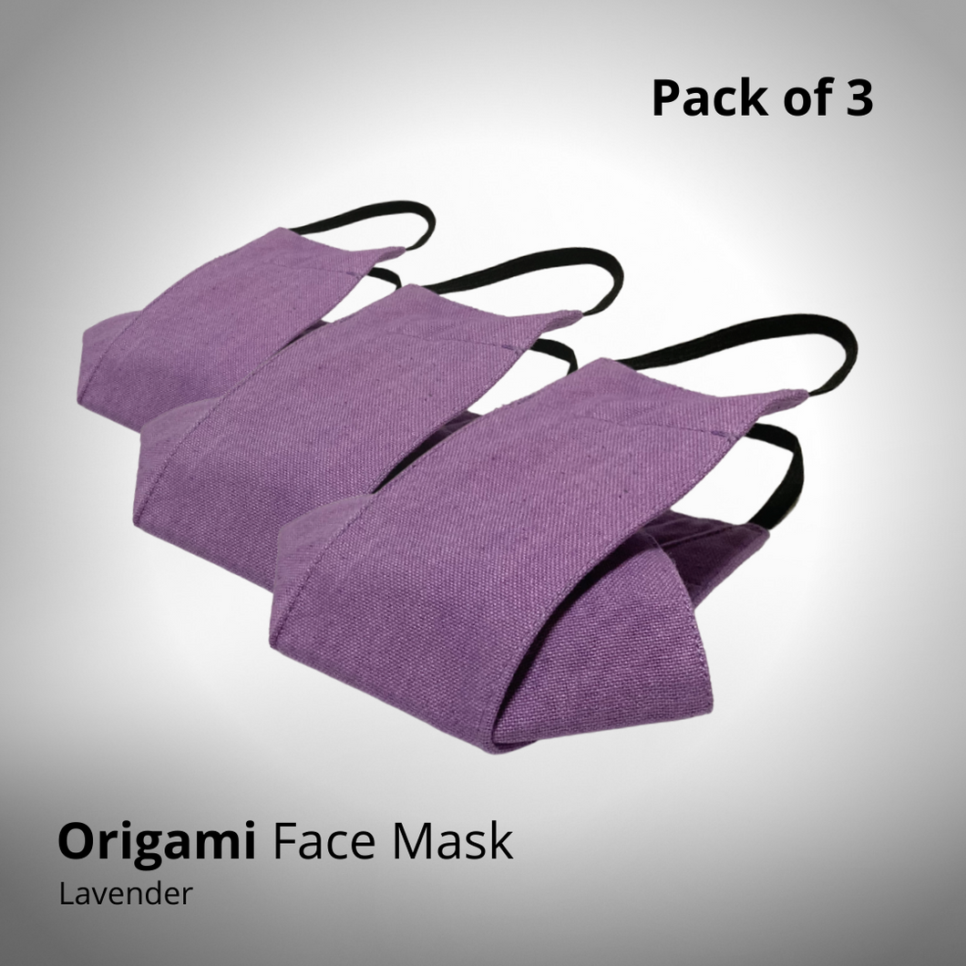 Lavender Origami Face Mask - Pack of 3