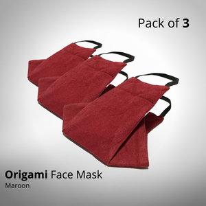 Maroon Origami Face Mask - Pack of 3