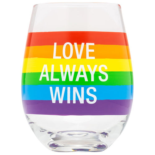 Love Always Wins Stemless Wine Glass