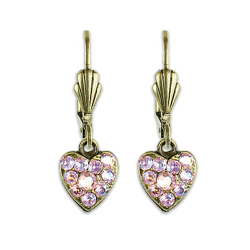 Pave Heart Earrings - Antique Brass