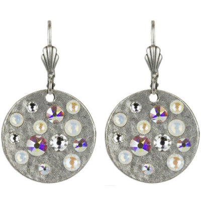 Hammered Disk Swarovski® Crystal Earrings