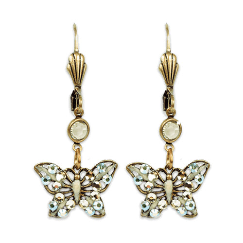 Butterfly Earrings - Pastel Yellow & Peridot Swarovski