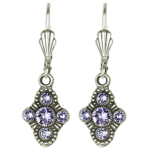 Byzantine Diamond Shaped Earrings with Swarovski® Crystals - Tanzanite