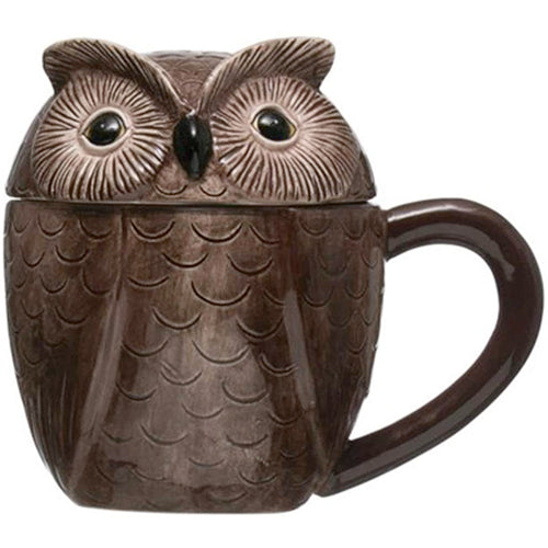Stoneware Owl Covered Mug with Lid