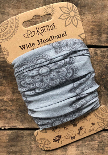 Wide Headband - Grey Medallion