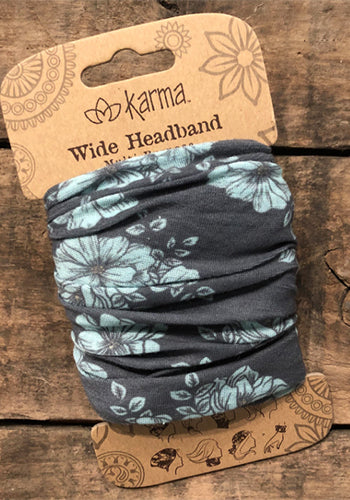 Wide Headband - Blue Floral