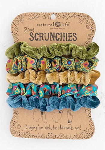 Skinny Velvet and Printed Scrunchies - Green/Blue