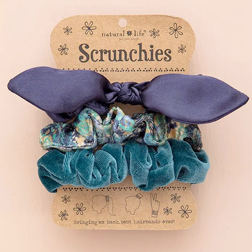 Bow Scrunchies Set - Navy Bow