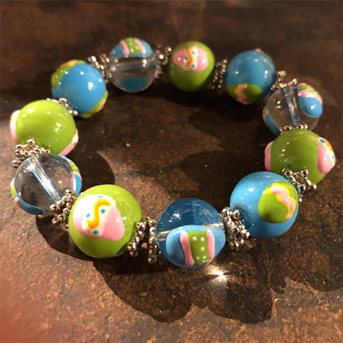 Handpainted Glass Easter Stretch Bracelet - Blue