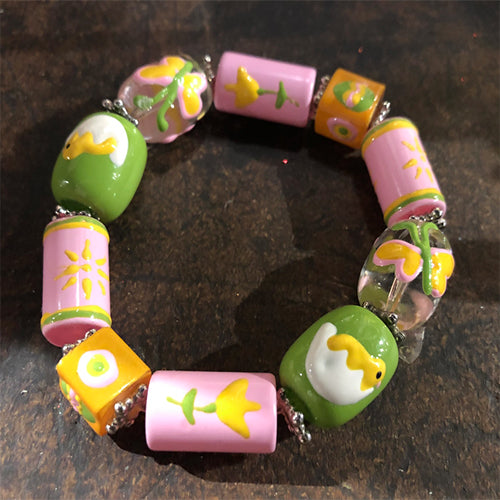 Handpainted Glass Easter Stretch Bracelet - Pink/Green