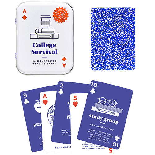 College Survival Illustrated Playing Cards