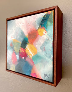 "Refractions III: 8""x8"" acrylic on canvas in wood floater frame"