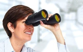 HR Manager with binoculars