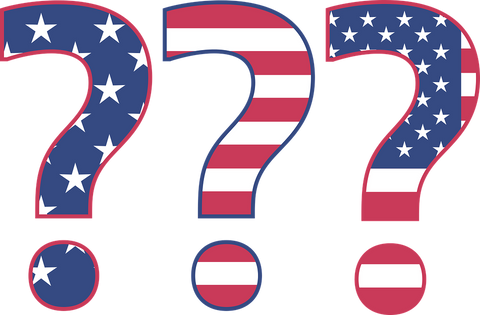red white and blue question marks