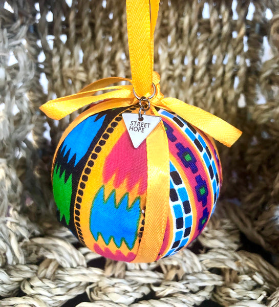 Kitenge Ribbon Ball Ornament (9 color options)