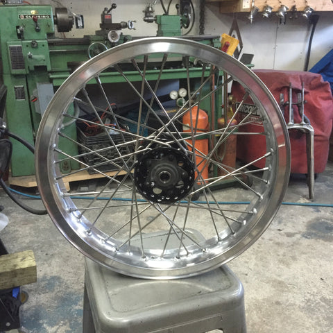 Pre built custom wheel with Excel style high shouldered aluminum rim