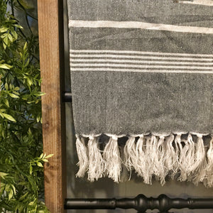 Charcoal Striped Throw