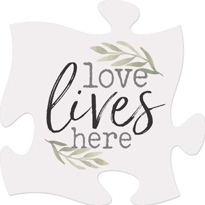 Love Lives Here - Puzzle Piece Sign