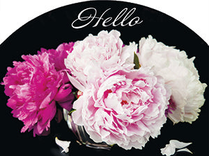 Peonies On Black Hello - Outdoor Plaque