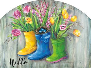 Rain Boots Hello - Outdoor Plaque