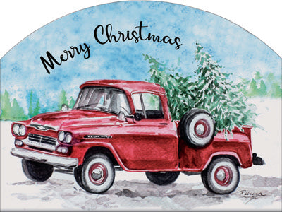 Red Christmas Truck - Outdoor Plaque
