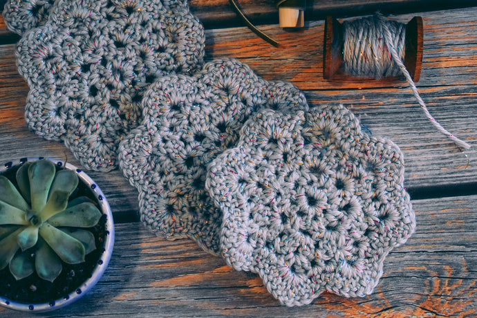 Silver Crochet Coasters & Cottagecore Home Accents
